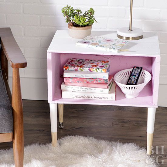 Transform an ordinary wood box into a stunning midcentury-inspired side table.