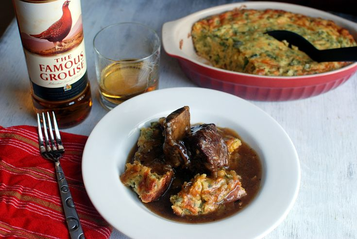 These short ribs are slowly cooked in a stock with lots of The Famous Grouse Whisky, and served over a cheesy and spicy cornbread.