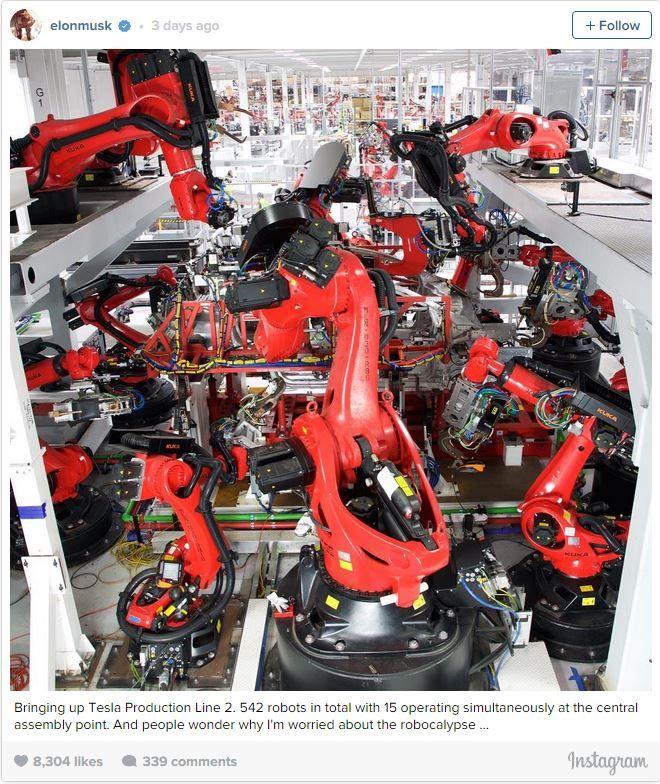 Elon Musk Shows Off Tesla Factory's Production Line Robots