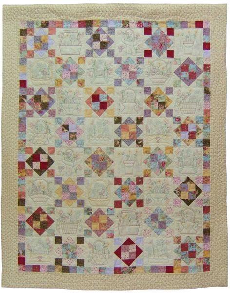 Stitchery flower block quilt