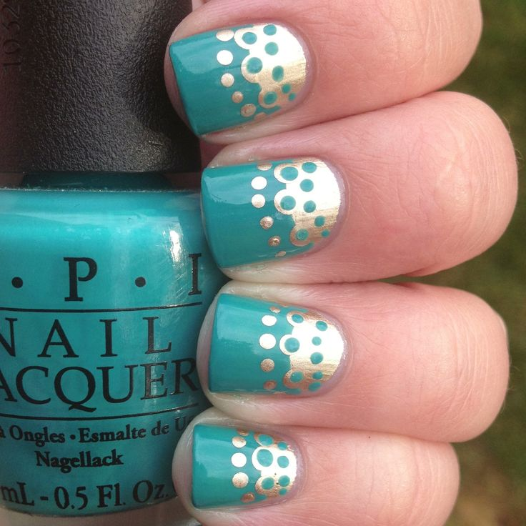 doily effect with #Opi brand blue nail polish base and metallic color. #nails - DIY NAIL ART DESIGNS