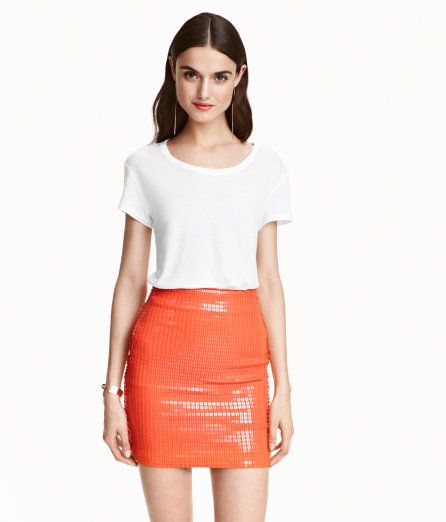 Check this out! Short, fitted skirt in sequined jersey with concealed elastication at waist. Jersey lining. - Visit hm.com to see more.