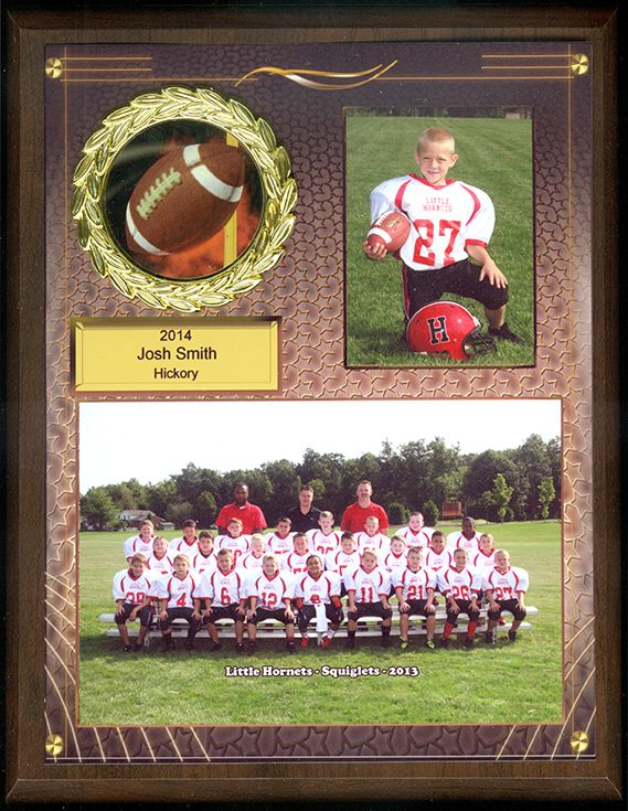 Personalized memory mate on wood plaque. Available for all sports and schools.   tpiphoto.com