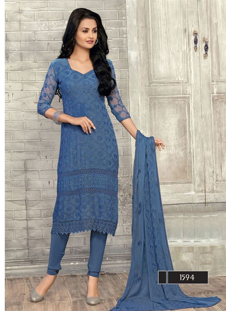 Indian black blue exclusive heavy dress material with 20% discount