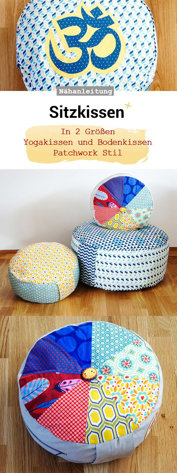Floor cushions in two sizes: yoga cushions and seat cushions