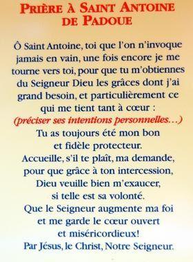 """Résultat de recherche d'images pour """"priere de saint antoine de padou"""""""