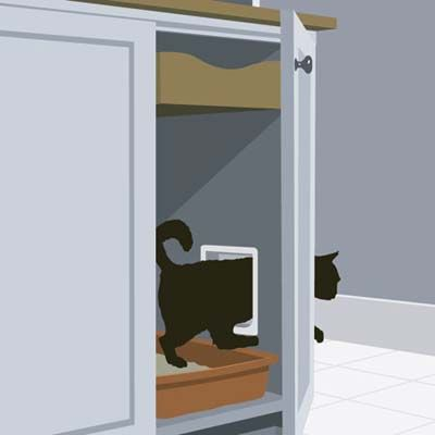 At This Old House's Manchester project house, Massachusetts architect Stephen Holt devised an ingenious solution to the where-to-put-the-litter-box question. He designed a bank of custom-base cabinets in the mudroom, which store kitty's bags of food on a pull-out shelf and offer him discreet litter-box access through a cat door cut into the wall of the end cabinet.