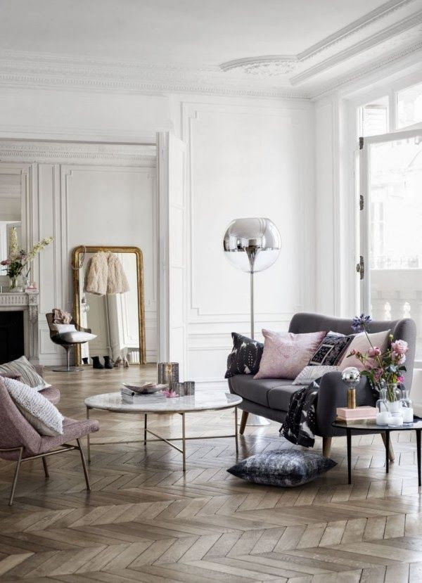 high ceiling, wooden floor, white, grey and light pink- what's there not to like?