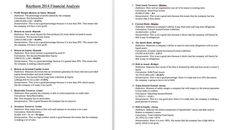 Raytheon 2014 Financial Analysis