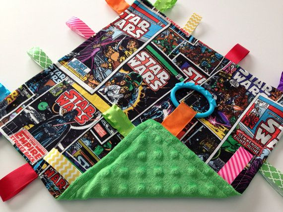 Star Wars Baby Ribbon Sensory Blankie - Crinkle Toy - Star Wars Minky Blanket on Etsy, $10.00