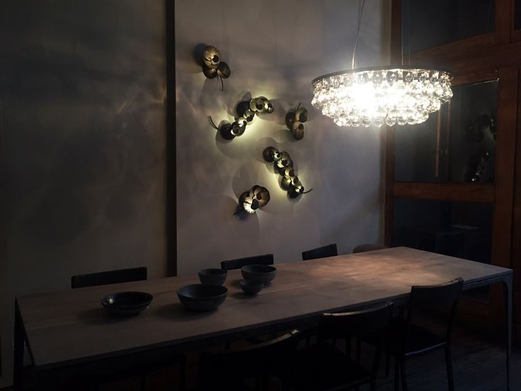 64 best ochre images on pinterest light fixtures ochre lighting ochre nyc showroom the arctic pear chandelier lighting beautifully above the long whippet table aloadofball Choice Image