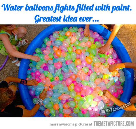 Epic water balloon fight… but not. Epic paint balloon fight.