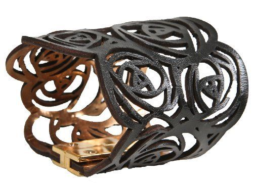 "Daniela Zagnolli Rosette Cut Leather Cuff ""Black"" Daniela Zagnolli. $49.00. Handmade, Genuine Leather, Magnetic closure"