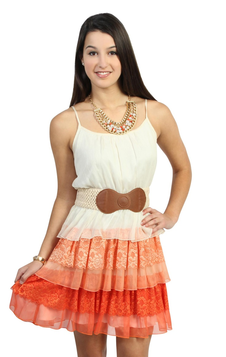 Deb Shops #coral tank strap #day dress with triple tiered chiffon and lace #ombre skirt