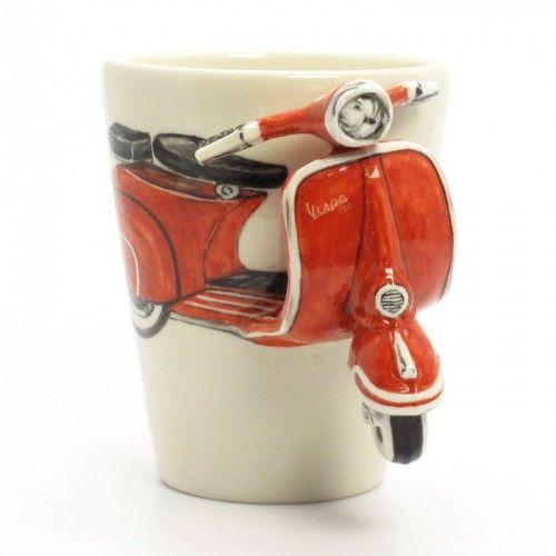 Red Vespa Mug Original Hand Sculpt Painting Art Ceramic Cup  0004 | madamepomm - Folk Art & Primitives on ArtFire