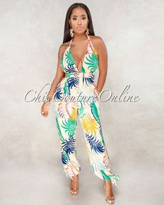 62bc8818eebc Ivanna White Multi-Color Leaf Print Jumpsuit in 2019
