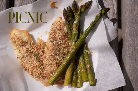 Great for entertaining and feeding the family. This fish is paired with Roasted Asparagus with Melted Gruyere cheese.