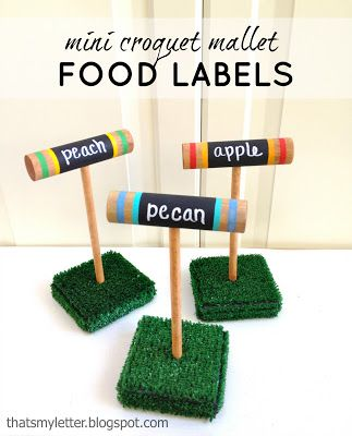 Thats My Letter: C is for Croquet Food Labels, mini croquet mallet food markers, backyard BBQ lawn party