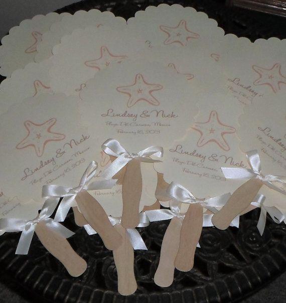 Wedding Fans, Beach Wedding, Seashells, Monogram Fan, Wedding Program Fan, Wedding Fan Program DEPOSIT on Etsy, $25.00