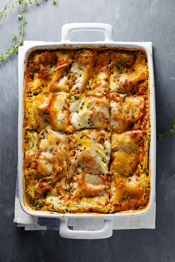 skinny spinach lasagna / pinch of yum.