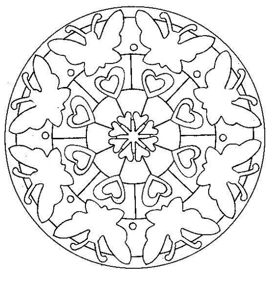Coloriage Mandala Papillon Et Coeur Dessin Gratuit Imprimer