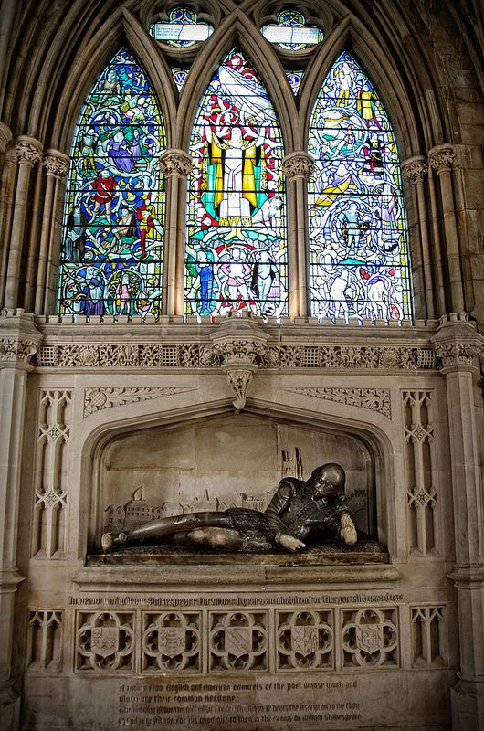 William Shakespeare Memorial in Southwark Cathedral in London.