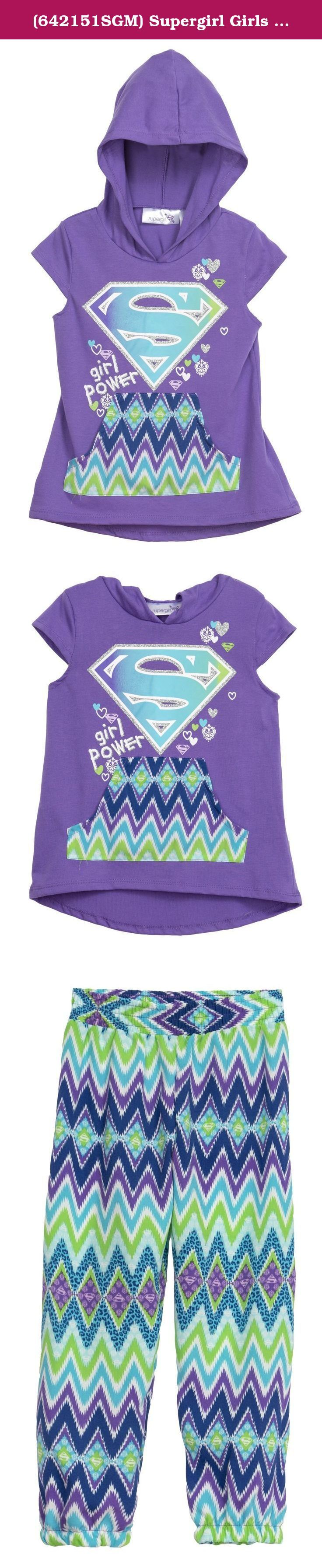 (642151SGM) Supergirl Girls Jogger and Tee 2 Piece Set in Violet Size: 6/6X. GREAT FABRIC - Top is made from 60% Cotton and 40% Polyester and bottoms are a 100% Polyester Chalis for a soft, comfortable fit, durability and easy care. QUALITY SCREEN PRINT - Large, bright screenprint made to last. TREND RIGHT - Mix a good looking pants set with your daughters favorite character and you have a winner!. Made in the Philippines. Machine Wash.