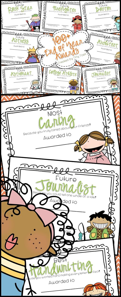 OVER 100 Colorful EDITABLE awards for the End of School. I love this style of kids for the certificates and I think your kids will, too! Each award is available with both a boys graphic and a girls graphic. $