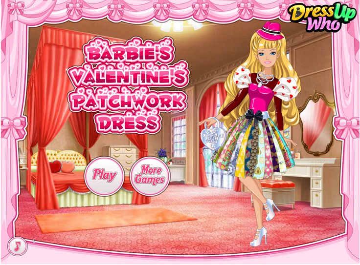 Barbie's Valentine's Patchwork Dress - Get this holiday-themed game started and create a jaw-dropping dress for our cute Barbie to impress her Valentine with