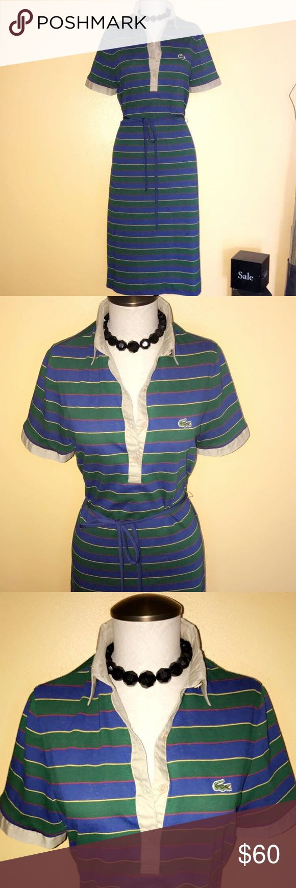 David crystal Lacoste blue green and kaki dress Lacoste green/blue/kaki stripe beautiful dress very comfortable size 14 runs small Lacoste Dresses Maxi