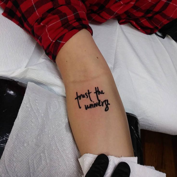 Minimalistic Text Tattoo, Trust the Universe. #tattoo #tattoos #universe #notyouraveragegary