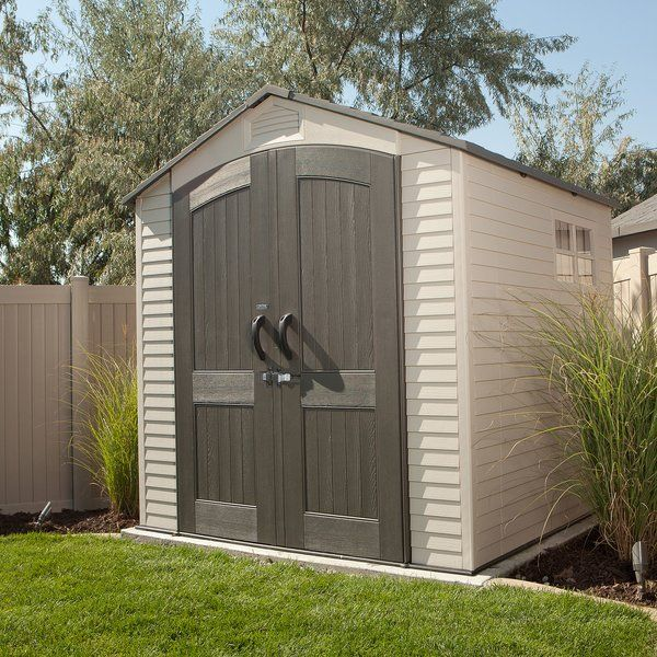 This compact shed is ideal for a driveway or carport where there is limited space. Keep tools and automotive supplies handy, safe, and secure in this highly durable, low maintenance Lifetime shed. Constructed from UV-protected, high-density, double-walled polyethylene plastic with steel reinforcements. Won't rust or dent like metal sheds. Won't fade, crack, or splinter like wooden sheds. This shed comes a full-length skylight which provides natural interior lighting. Steeply pitched r...