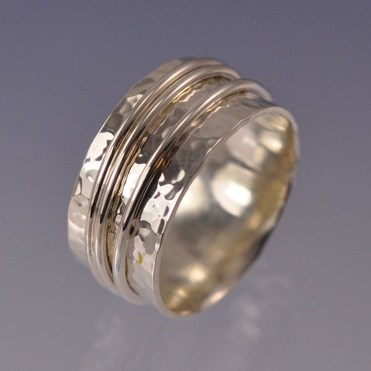unique silver and gold wide wedding bands for him and her rings