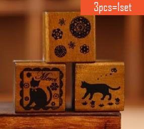 Cheap  3 pz/set arco dell'annata gatto pizzo timbro fai da te decorazione della casa scrapbooking album legno francobolli  , Compro Qualità Francobolli direttamente da fornitori della Cina: