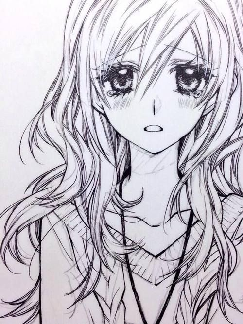 Sketch of an anime female with flowing wavy hair how to draw anime anime eyes anime hair