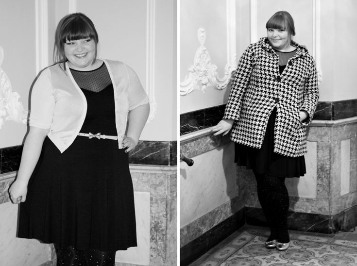 New Year's Eve Plus Size Outfit, wearing an ASOS Curve dress and sparkly tights
