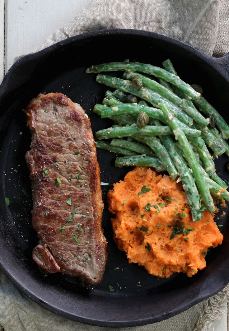 GRASS FED ANGUS SIRLOIN WITH KUMARA MASH AND GREEN BEANS. Always wanted to cook a restaurant quality steak at home? Here's your chance.  30 Minutes. Gluten free. 544 Calories.