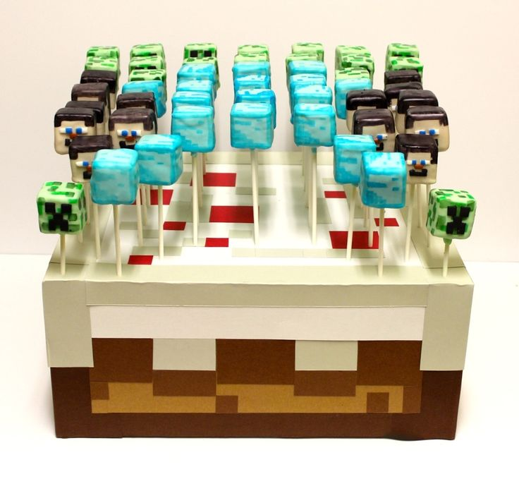 Minecraft Cake Pops Steve Creeper Diamond Block