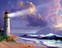 Shining light. Lighthouse painting.