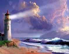 Shining light. Lighthouse painting.