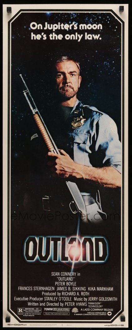 eMoviePoster.com Image For: 2y337 OUTLAND insert '81 Sean Connery posing with shotgun is the only law on Jupiter's moon!