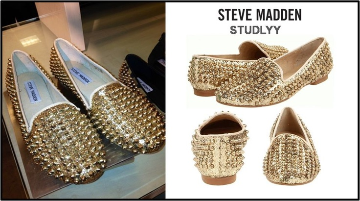 Looking for flats with the glamour of heels?    STUDLYY's by Steve Madden   - Featuring a sparkly gold-glitter upper decorated with edgy spikes, these stylish and versatile flats can be worn with casual skirts, denims, leggings or shorts for a subtle dressy touch!    Hit 'Repin' if this dazzling pair is next in your closet and visit our online store to check out more Madden babies in Studs & Spikes! :)