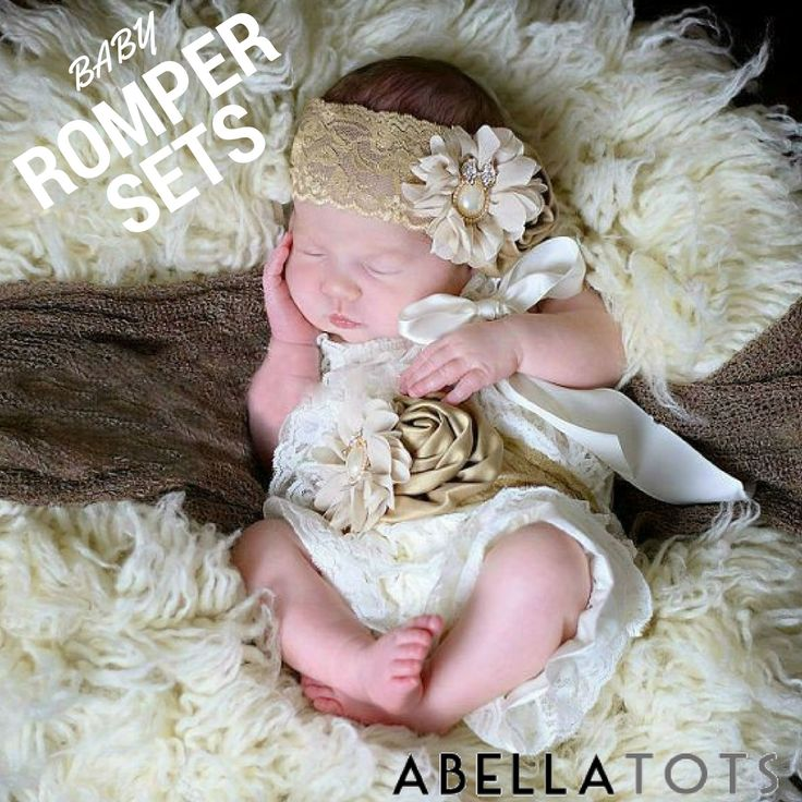 ~Ivory & Beige Lace Petti Romper Outfit~ Newborns to 4 years