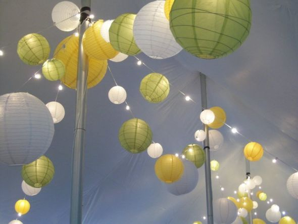 Paper lanterns: Circus Tent, Tent Weddings, Paper Lanterns Lighting, Yellow Paper, Weddings Inspiration, Color Combinations, Lighting Green Yellow Weddings, Yellow Green Weddings, Weddings Lanterns