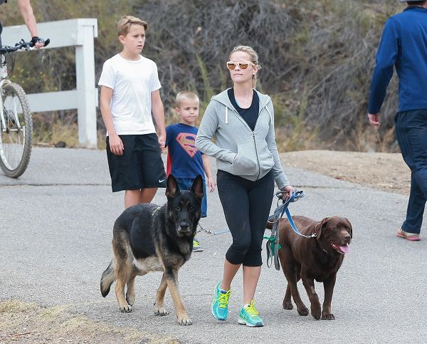 Reese Witherspoon spent some quality time with her two sons over the weekend.  The actress was spotted out and about on Saturday, May 28 in Pacific Palisades, she and her sons Deacon Phillippe and Tennessee Toth enjoyed a hike together with their family's dogs.  It looks like they h