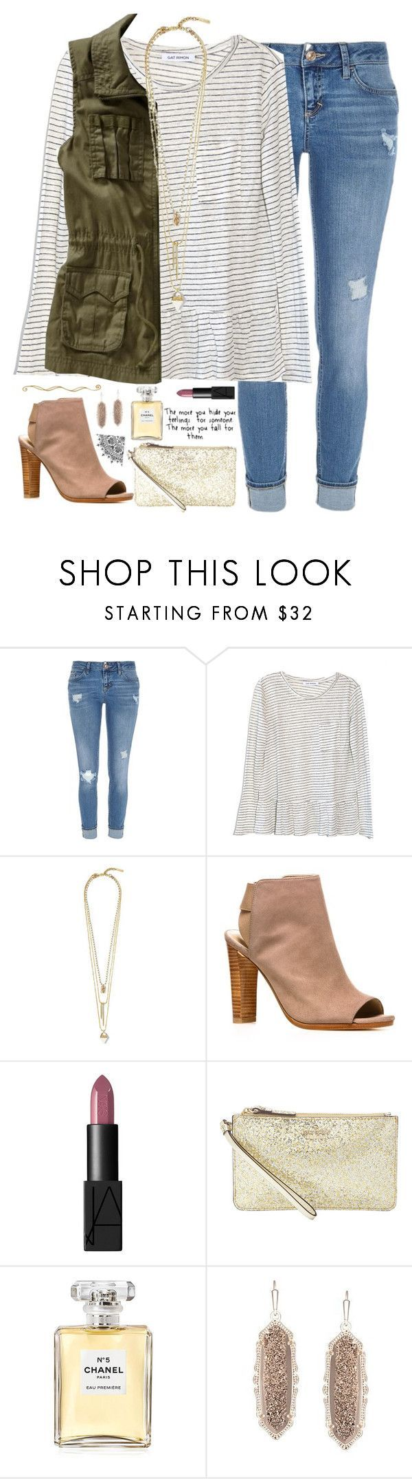 """""""be with someone that loves you so much, they'll put you on their shoulders just so you can get a better view."""" by kaley-ii ❤️ liked on Polyvore featuring River Island, Gat Rimon, Old Navy, Vince Camuto, Stuart Weitzman, NARS Cosmetics, Kate Spade, Chanel and Kendra Scott"""