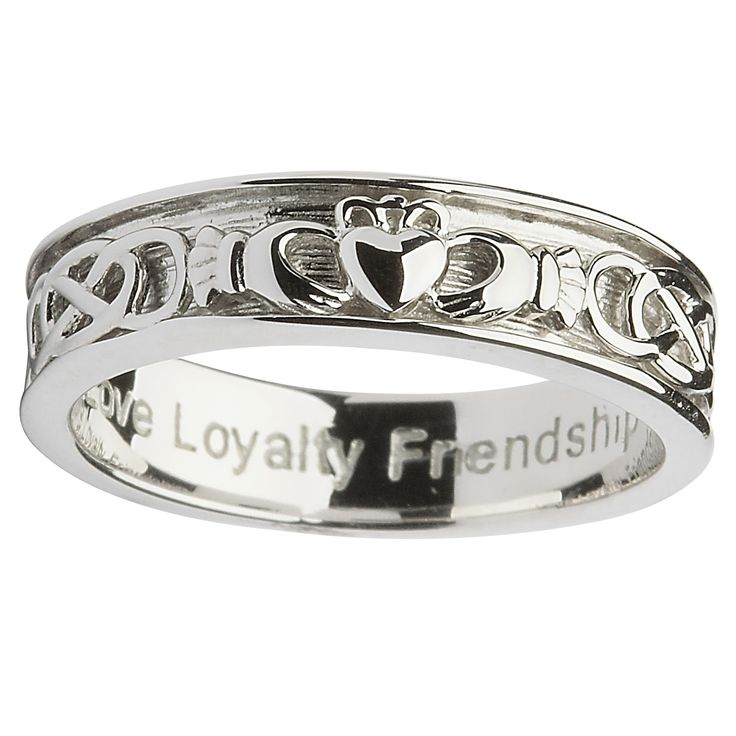 This handsome sterling silver Claddagh ring is truly a delightful addition to Shanore's wedding collection. Elegant and uncluttered, the simple sterling silver band is adorned with the repeating three symbols of the beloved Claddagh Ring. A Celtic Knot separates these motifs as another symbol of unending love. On the inside of the band the famous meanings of the Claddagh Ring are repeated: Love, Loyalty, and Friendship.