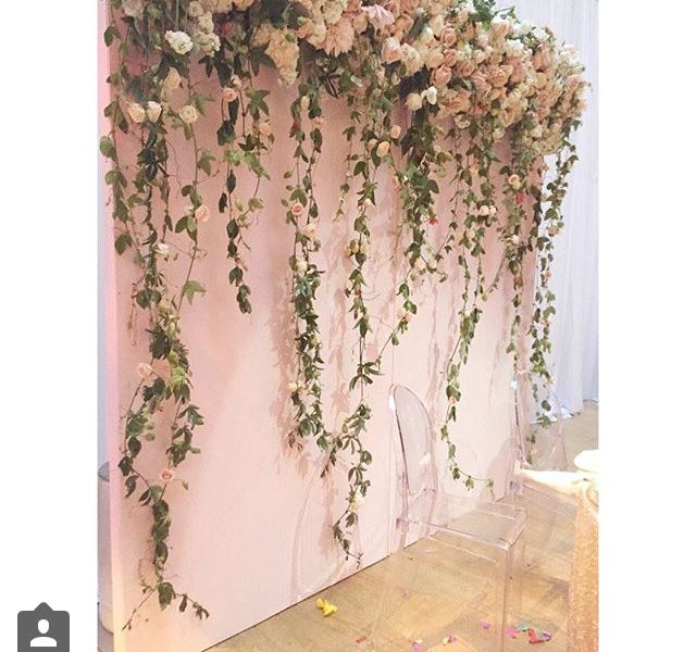 140 best hanging flowers backdrops images on pinterest for Wedding wall decor
