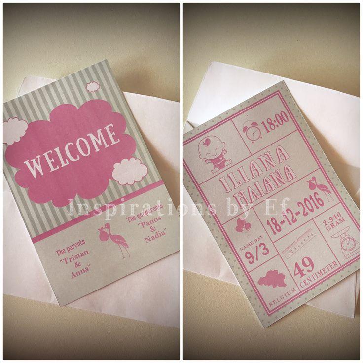 Welcome birth card double layer.. Κάρτα ανακοίνωσης γέννησης διπλής εκτύπωσησ.. InspirationsbyEf