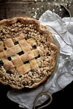 Black Plum, Fig and Berry Pie with Brown Butter Oat Streusel